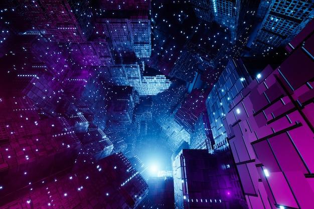 Sci-fi futurista techno design moderno, renderização em 3d
