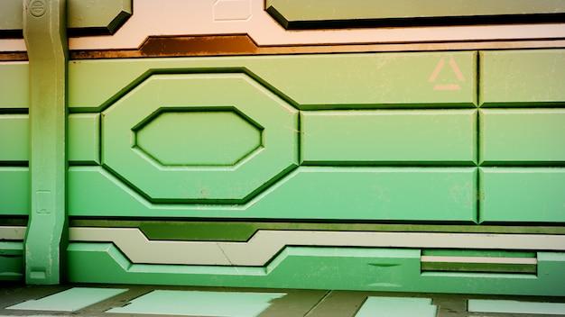 Sci-fi grunge danificado corredor metálico 3d render