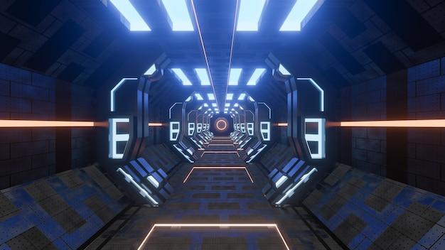 Sci-fi grunge danificado fundo metálico corredor iluminado com luzes de néon 3d render - ilustração de stock