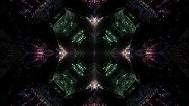 Sci fi ilustração 3d desenho de fundo abstrato de túnel escuro em forma redonda com luzes brilhantes simétricas