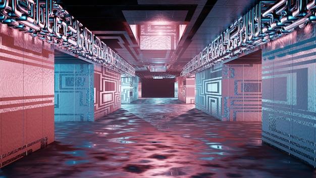 Sci fi interior futurista quarto corredor garagem alienígena espaço