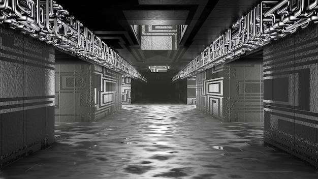 Sci fi interior futurista quarto corredor garagem alienígena nave espacial tubos comunicação brilhante néon luz névoa renderização em 3d