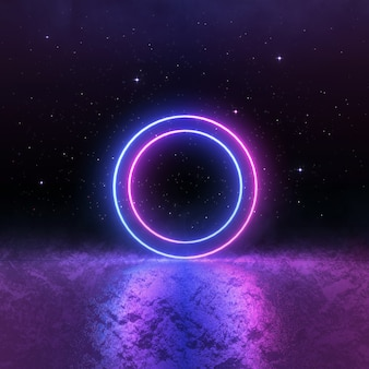 Sci fi luz de néon rosa azul, paisagem cósmica