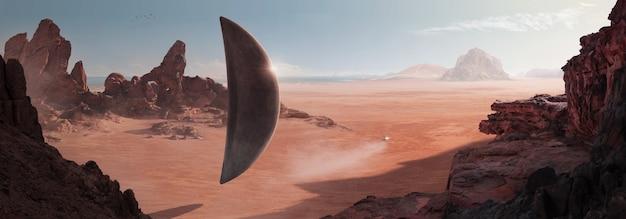 Sci-fi no deserto com uma nave espacial em forma de monólito descansando na superfície do deserto e outra pequena nave indo em direção ao horizonte