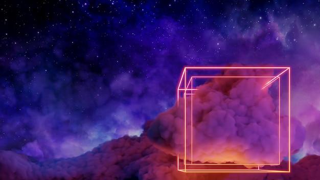 Sci fi paisagem de realidade virtual cyberpunk estilo 3d render, universo e fundo de nuvem espacial