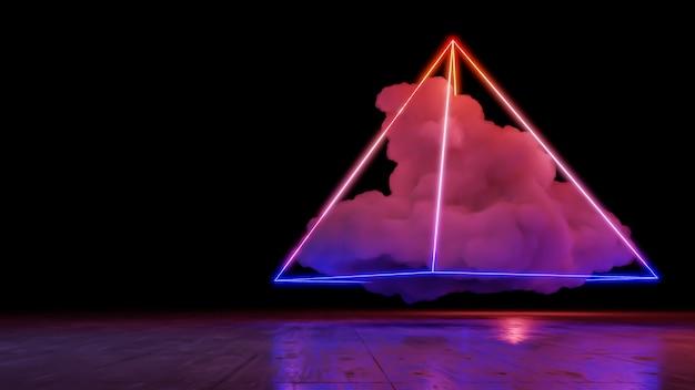 Sci fi paisagem de realidade virtual estilo cyberpunk renderização 3d, fundo de nuvem do espaço fantasia