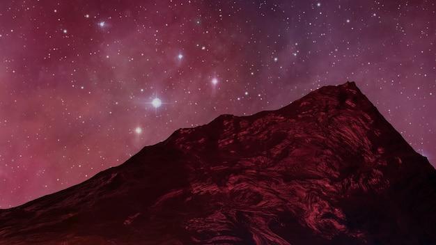 Sci fi paisagem de realidade virtual estilo cyberpunk renderização 3d, universo fantasia e fundo de nuvem espacial