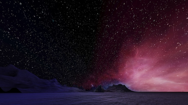 Sci fi paisagem de realidade virtual estilo cyberpunk renderização em 3d, universo fantasia e fundo de nuvem espacial