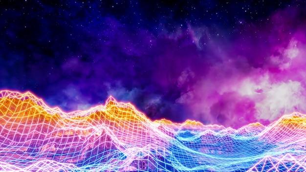 Sci fi paisagem de realidade virtual estilo cyberpunk renderização em 3d, universo fantasia e fundo do espaço