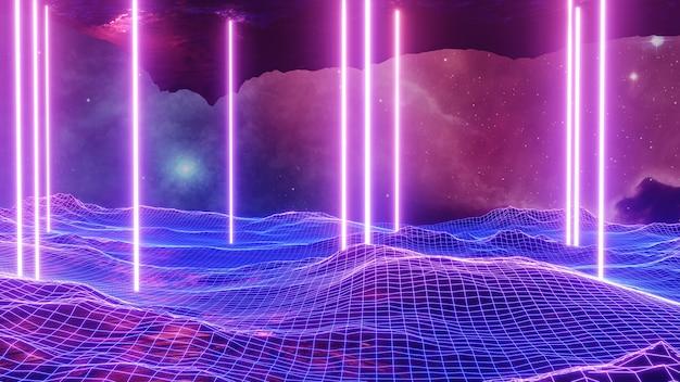 Sci fi paisagem de realidade virtual estilo cyberpunk renderização em 3d
