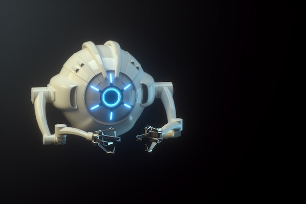 Sci fi voando drone com câmera ou máquina de montagem futurista isolada na parede preta. tecnologias futuras, inteligência artificial. 3d rendem, ilustração 3d.