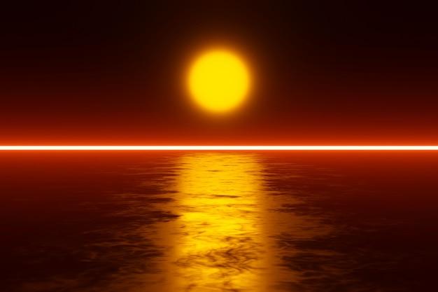 Scifi pôr do sol sobre um planeta alienígena