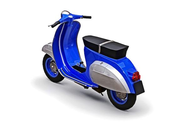 Scooter azul europeu vintage em um fundo branco. renderização 3d.
