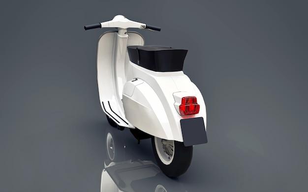 Scooter branco europeu vintage sobre um fundo cinza. renderização 3d.