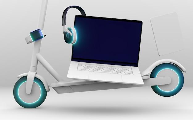 Scooter e laptop para cyber segunda-feira