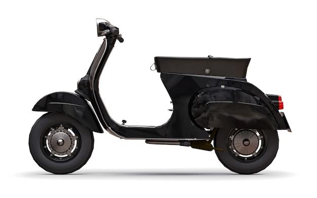 Scooter europeia vintage preta em uma superfície branca