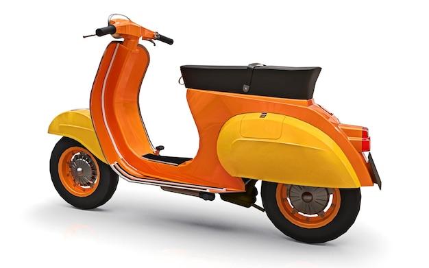 Scooter laranja europeia vintage em um fundo branco. renderização 3d.