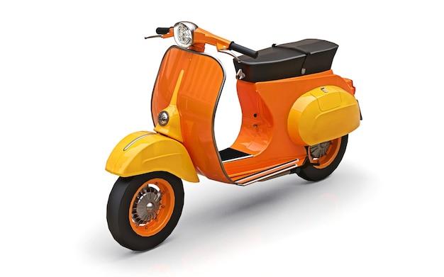 Scooter laranja europeu vintage em um fundo branco. renderização 3d.