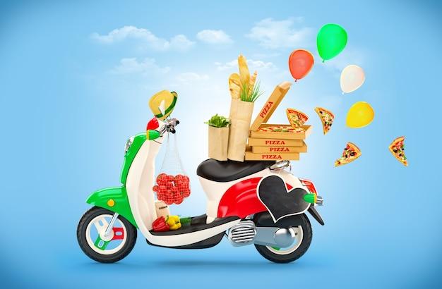 Scooter vintage com comida italiana na parede azul