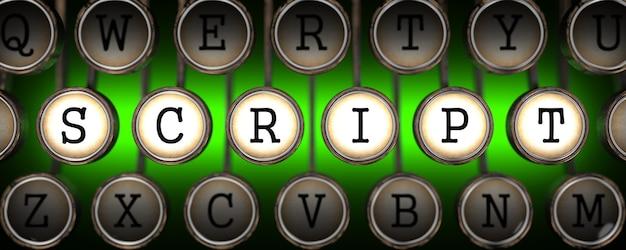 Script nas teclas da velha máquina de escrever no verde.