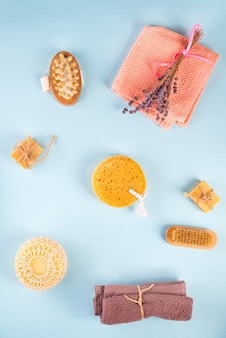 Scrub peeling escova purificador de corpo massageador bucha barra de sabão em azul