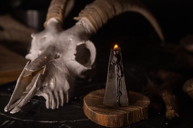 Scull de cabra branca com chifres, livro antigo aberto, velas pretas na mesa da bruxa.
