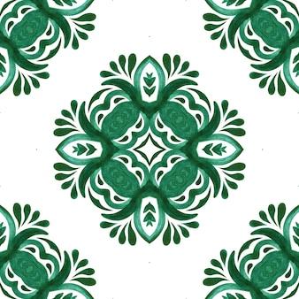 Seamless pattern handdrawn aquarela ornamento verde e branco com elementos decorativos. projeto da telha.