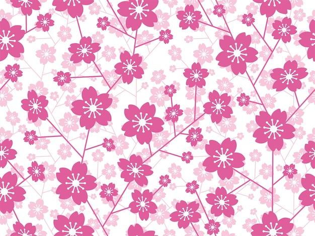 Seamless vector cherry blossom floral isolado em um fundo branco horizontalmente e verticalmente repetível