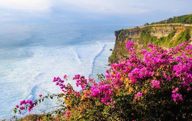 Seascape, oceano ao pôr do sol. flores no oceano perto do templo de uluwatu no por do sol, bali, indonésia. flores buganvílias em primeiro plano.