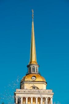 Seção alta, vista, de, um, predios, a, almirantado, st petersburg, rússia