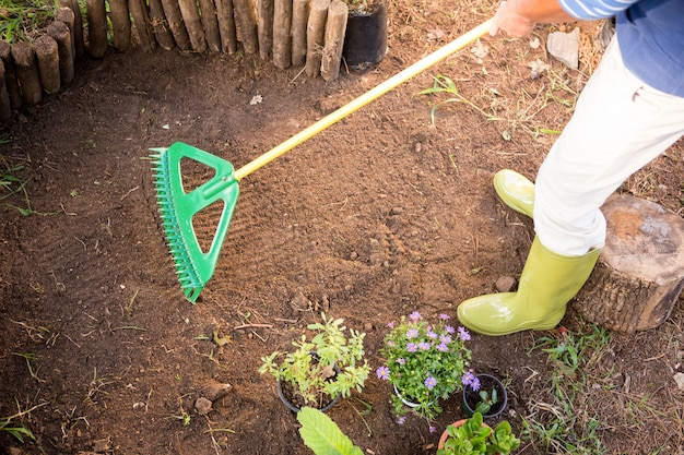 Seção baixa de jardineiro usando ancinho na fazenda