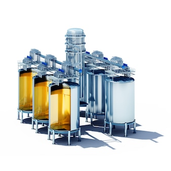 Seção de cubas de fermentação em aço