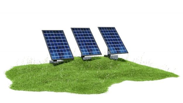 Seção de ilustração de grama com painéis solares, isolado no branco