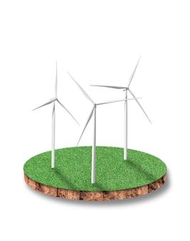 Seção transversal de terreno de solo redondo de campo de grama verde com turbina eólica isolada.