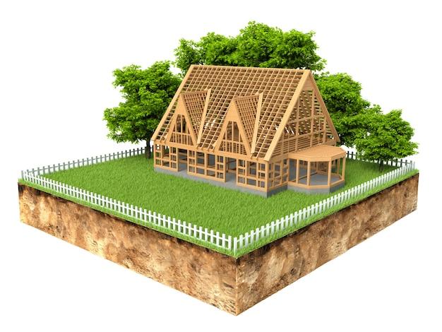 Seção transversal do terreno com uma casa nova em construção no campo isolado no branco