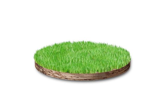 Seção transversal redonda do solo com grama isolada no branco