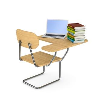 Secretária escolar, pilha de livros e laptop em fundo branco. ilustração 3d isolada