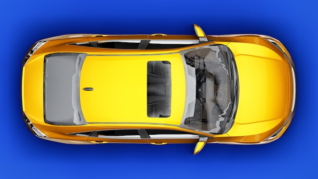 Sedan familiar urbano de tamanho médio amarelo sobre um fundo uniforme azul. renderização 3d.