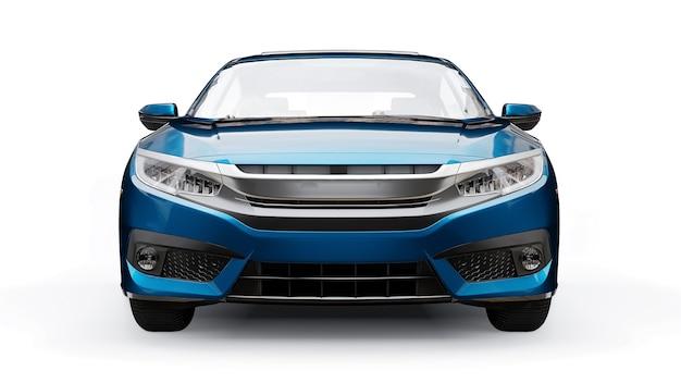 Sedan familiar urbano de tamanho médio azul sobre um fundo branco e uniforme. renderização 3d. Foto Premium