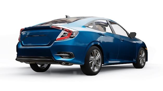 Sedan familiar urbano de tamanho médio azul sobre um fundo branco e uniforme. renderização 3d.