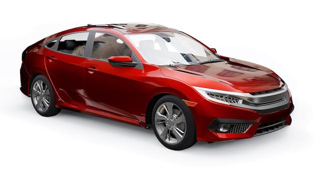 Sedan familiar urbano de tamanho médio vermelho sobre um fundo branco e uniforme. renderização 3d.