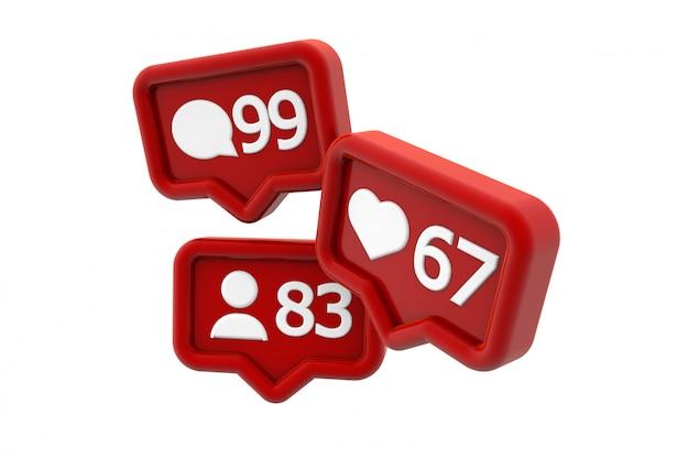 Seguidores, curtidas e comentários em notificações de mídia social