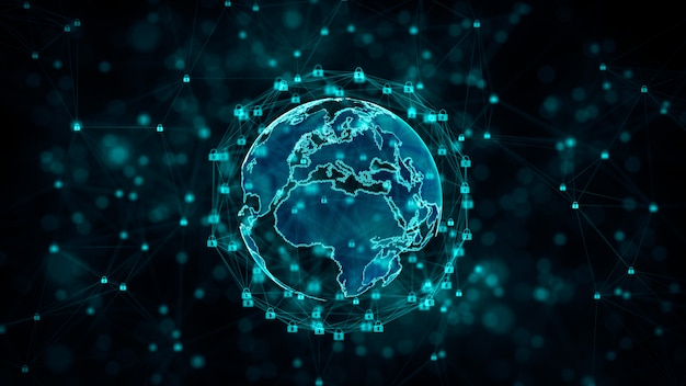 Segurança cibernética e proteção de rede de informações com o ícone de bloqueio.