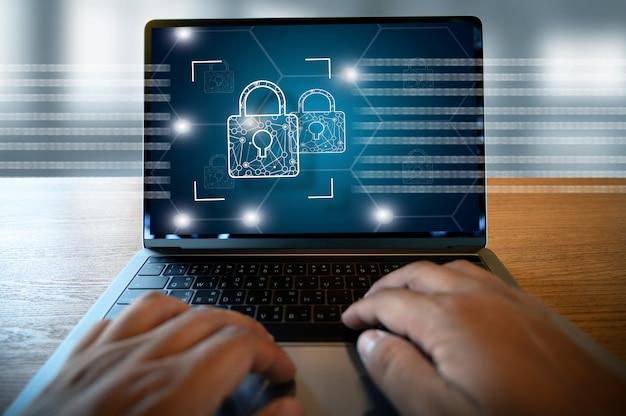 Segurança cibernética tecnologia comercial segura firewall antivírus proteção de alerta segurança e cyber security firewall
