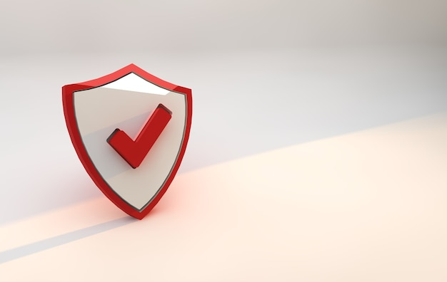 Segurança escudo vermelho. conceito de segurança cibernética online