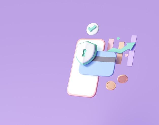 Segurança financeira 3d, proteção de pagamento online