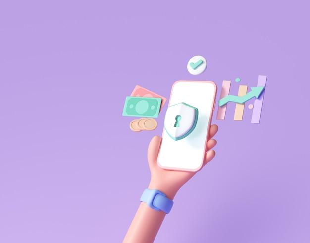 Segurança financeira do telefone 3d handhold, proteção de pagamento online