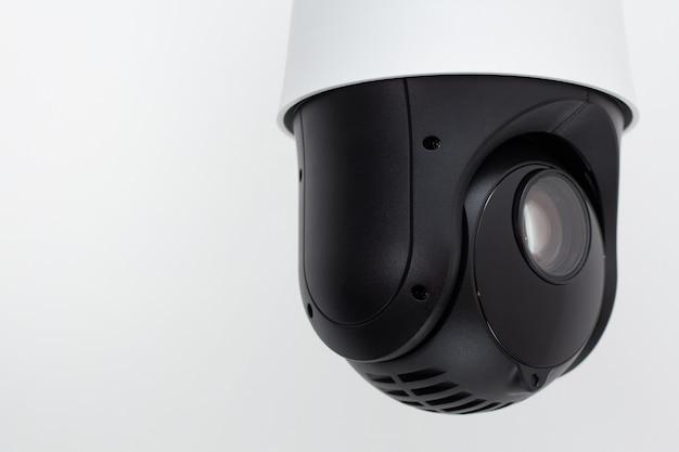 Segurança video da câmera do cctv no branco.