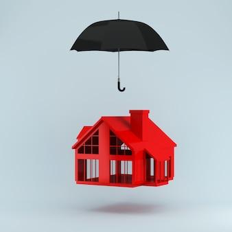 Seguro conceito de seguro de vida, seguro de casa para proteção através de guarda-chuva