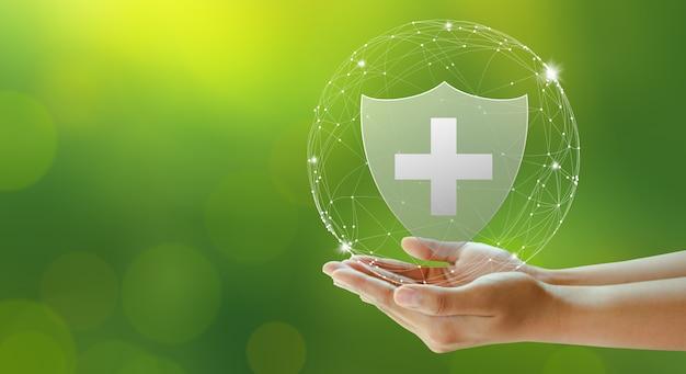 Seguro de vida familiar seguro de assistência médica e conceitos saudáveis de negócios